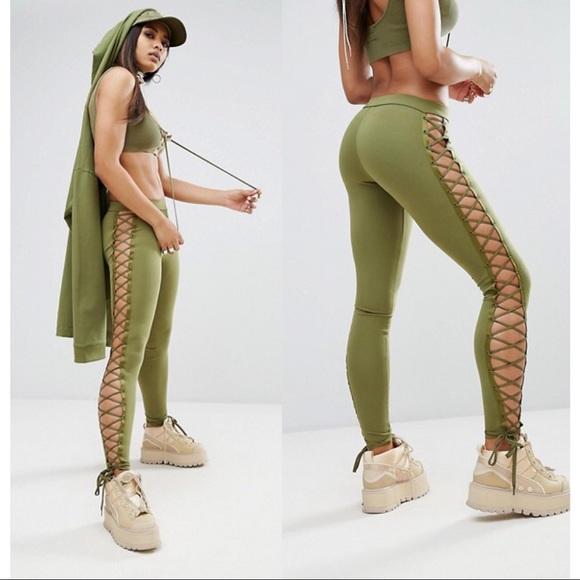 ea4e1085b509 NWT Puma x Fenty Rihanna Green Lace Up Leggings